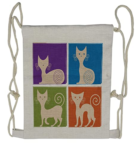 f3706614c438 Amazon.com | Ambesonne Funny Drawstring Backpack, Cartoon Cats ...