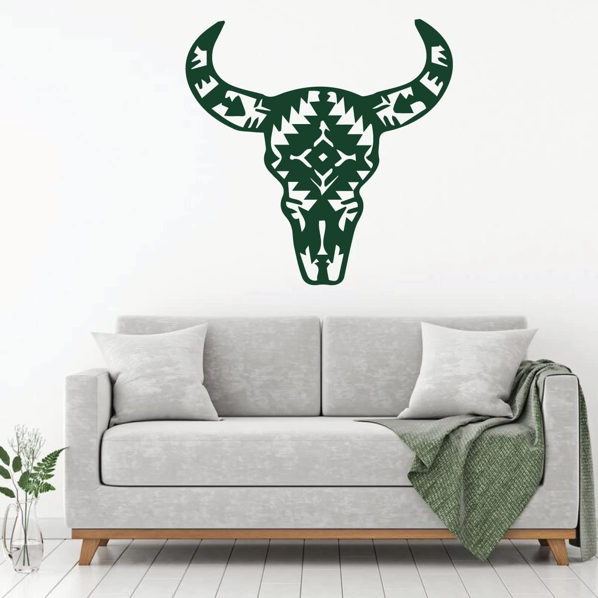 Cow Aztec Skull Home Wall Decor Design   Removable Vinyl Decal for Bedroom, Family Room, Playroom, or Office   Custom Sizes and Colors Fit Any Themed Living Space   Black, Red, White, Gray