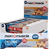 Maximuscle Cyclone High Protein and Creatine Bar, 60 g - Peanut Butter, Pack of 12