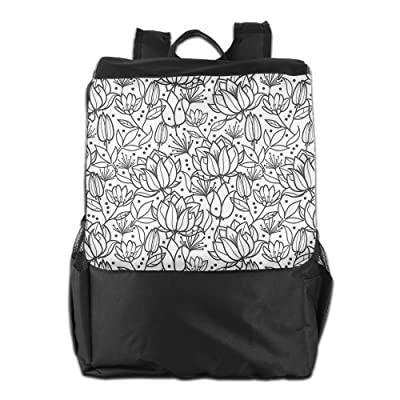 Newfood Ss Leaves Swirls Buds Orchid Like Gardening Flowers Sketchy Hand Drawn Outdoor Travel Backpack Bag For Men And Women