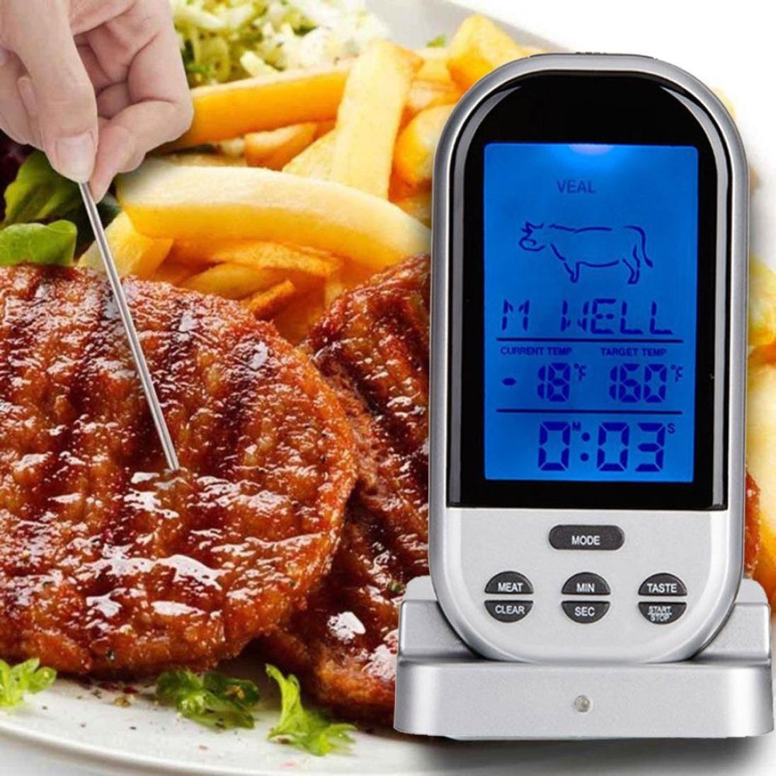 Transer Wireless Remote Large LCD Digital Cooking Food Meat Thermometer Clock Timer with Stainless Steel Temperature Probe For Kitchen BBQ Grill Smoker Oven Food Cooking (Silver)