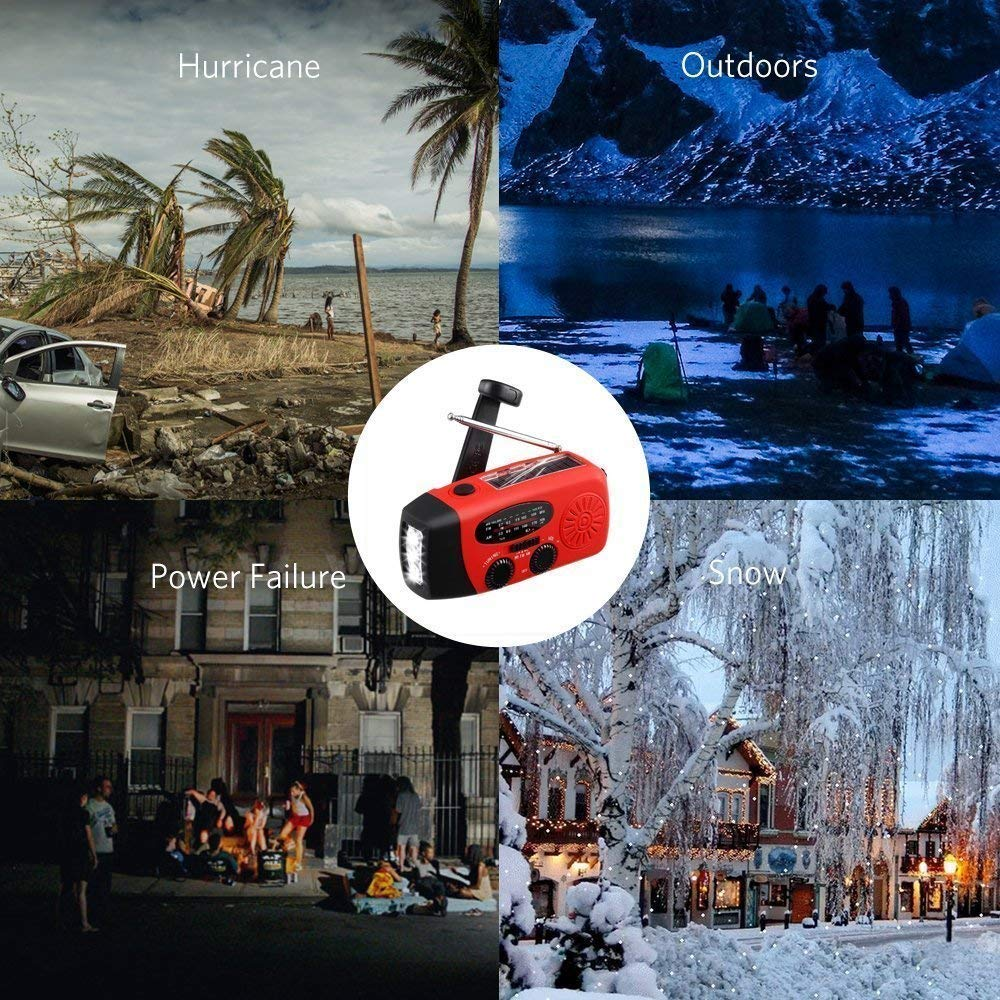 MECO Emergency Radio Solar Hand Crank Dynamo Weather Radio AM//FM//WB NOAA Radio Power Bank LED Flashlight with Cable and USB Jacks for Camping Hiking Outdoor Survival