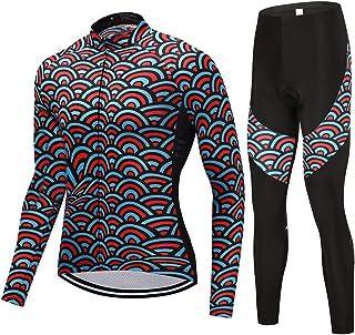 puerhki Tuta da Ciclismo Maglia Manica Lunga + Pantaloni da Equitazione Traspirante e ad Asciugatura Rapida Tuta da Ciclismo Adattato alla Guida Jogging Sportivo