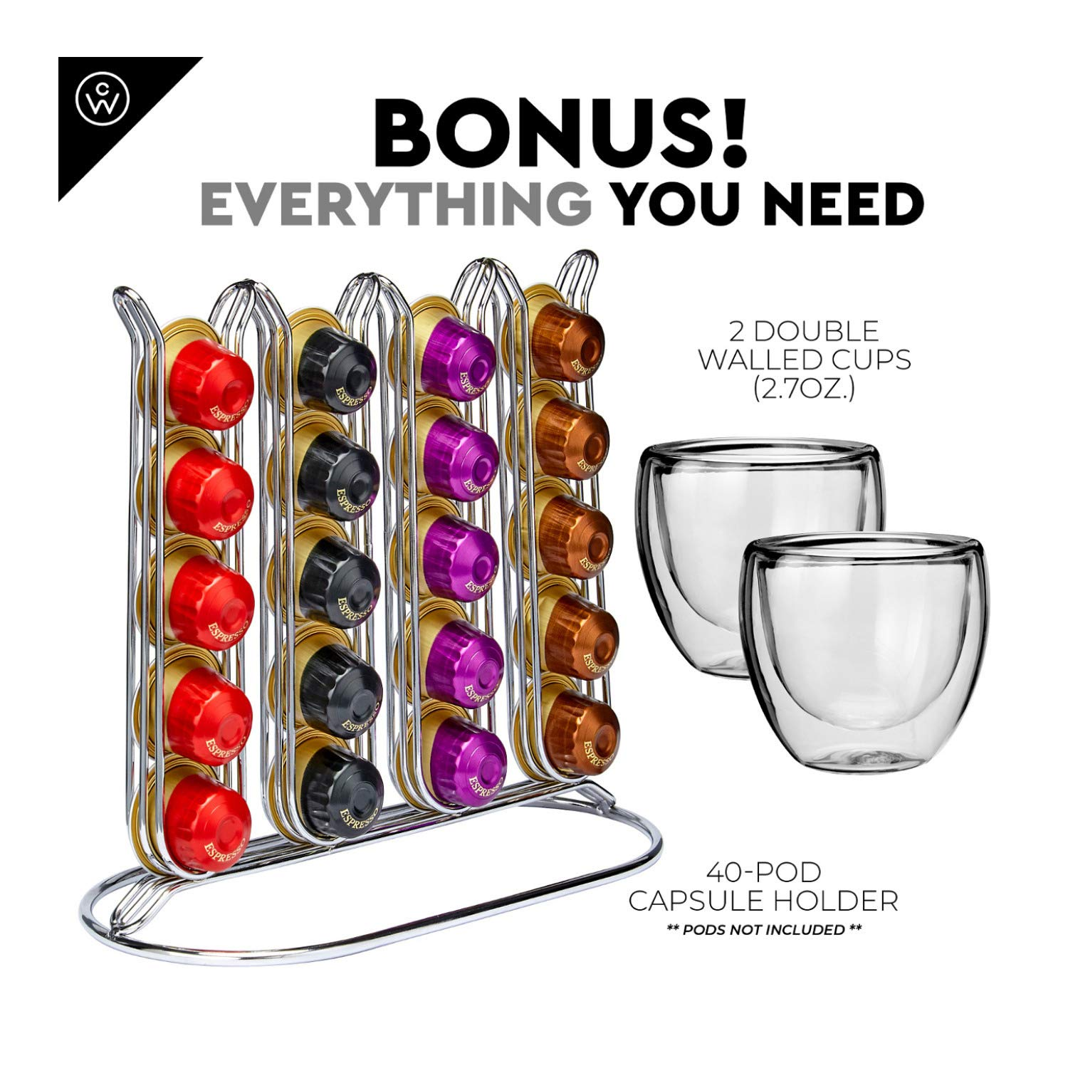 ChefWave Mini Espresso Machine - Nespresso Capsules Compatible - Programmable One-Touch 27 Oz. Water Tank, Premium Italian 20 Bar High Pressure Pump - 40 Pod Holder, 2 Double-Wall Glass Cups - White by ChefWave (Image #6)