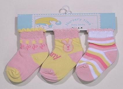 Pack de tres pares de calcetines bebe niña algodón rosa/Multi 3 – 6 meses
