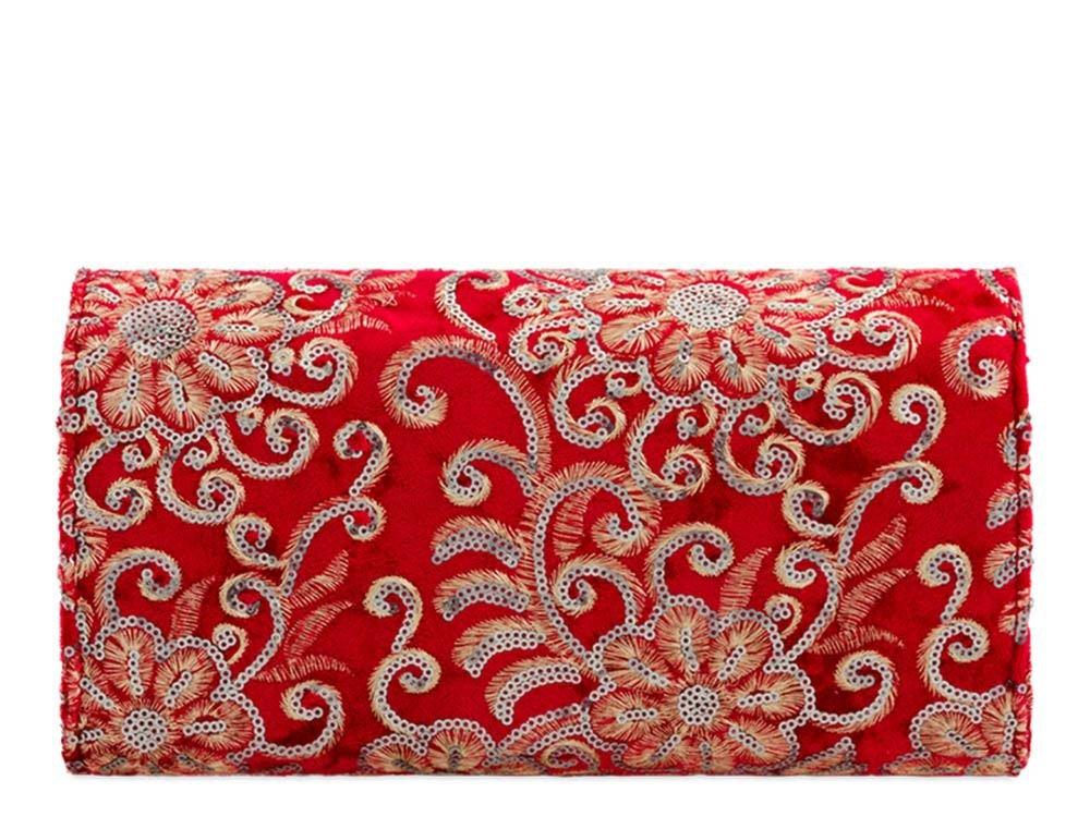 haute pour DIVA 'S NEUF paillettes décoration broderie fleur lanière chaîne Femmes Sac à Main Pochette Mariage - Rose, Medium