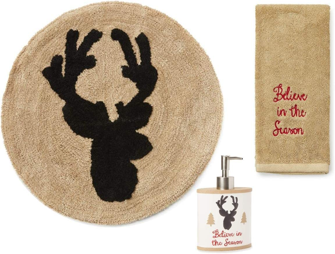 Christmas Rustic Deer Stag Seasonal Bathroom Set ~ Round Bath Rug, Hand Towel and Soap Dispenser ~ Deer Antler Hunting Lodge Cabin Rustic Decor