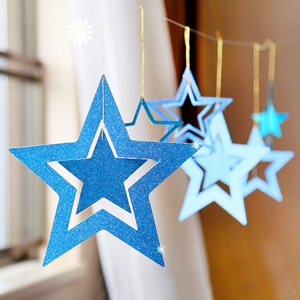 Shxstore Sky Blue Star Ornaments Set Hanging Stars for Wedding Baby Shower Birthday Themed Party Decorations Supplies