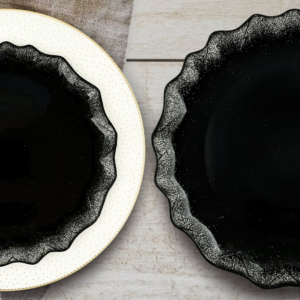MITBAK Sparkling Glass Dessert/Accent Plates – Modern, Elegant, Fancy – Great for all occasions (weddings, holidays, parties)– Heavy Duty - Made in Turkey - Set of 4 (Sparkly Black) by MITBAK (Image #4)