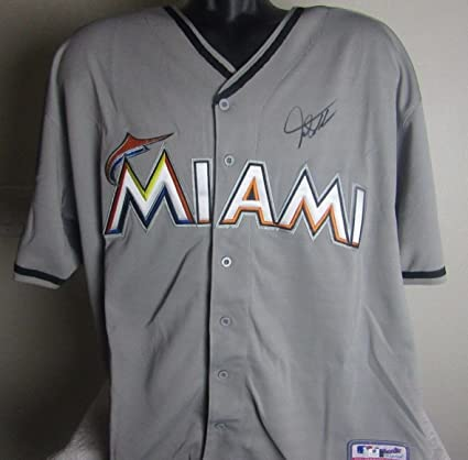 size 40 7bef7 039fa GIANCARLO STANTON AUTOGRAPHED SIGNED MIAMI MARLINS JERSEY at ...
