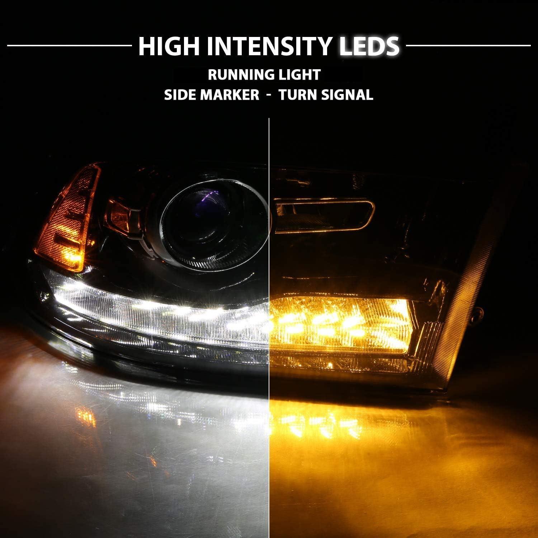 Passenger and Driver Side AmeriLite Black Projector Headlights for 2009-2018 Dodge Ram 1500 2500 3500 Assembly w//LED DRL Switchback Turn Signal Set