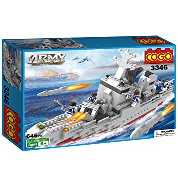 Cogo Army 646 Pieces Lego Style The Aircraft Carrier Military Ship