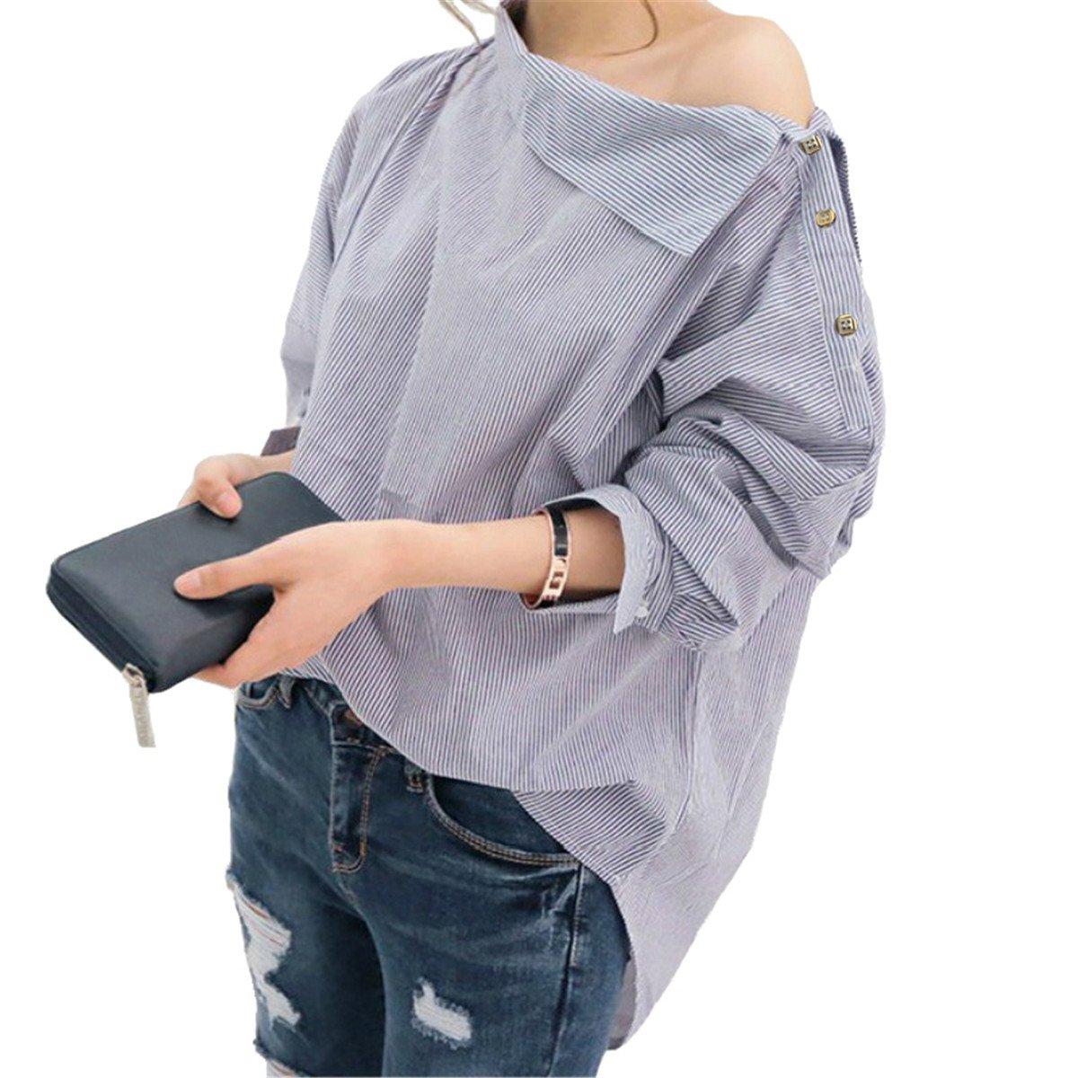 Mujer Blusas a Rayas de Las Mujeres Camisas de Manga Larga Sexy Fuera del Hombro Blusa Superior Camisa de la Manera del Verano Tops y Blusas de Las Mujeres: ...