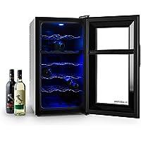 Klarstein Vinesse • Cave à vin • Design et moderne • Lumière LED bleue • Panneau de contrôle tactile • Classe énergétique C • 18 bouteilles • Noir