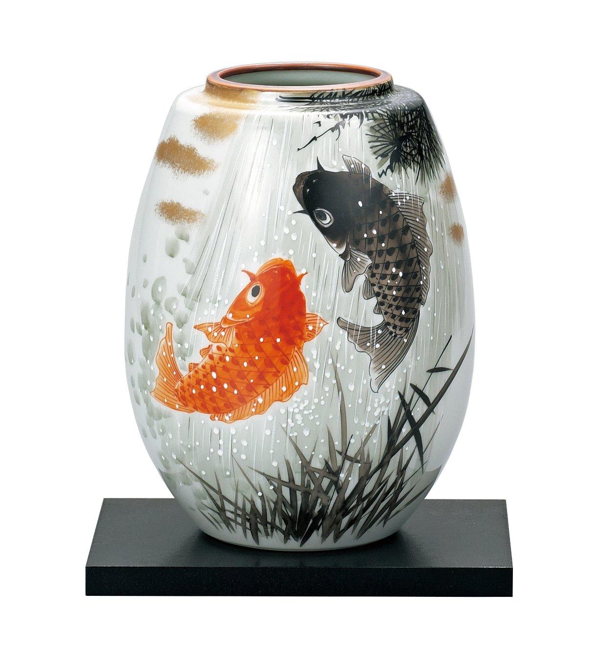 マルサン宮本 九谷焼 花器 8号花瓶 夫婦鯉滝登り AP3-1033 B01HXQMGLO