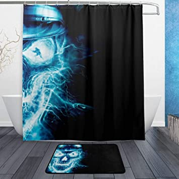 A Fired Skull Shower Curtain Set 71X71 Inch Bathroom Polyester Fabric Waterproof