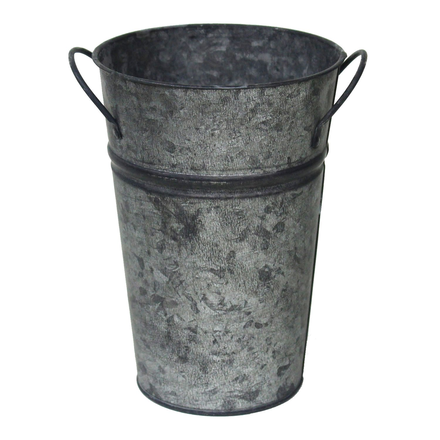 Arbor Lane Rustic Galvanized Metal Flower Vases - French Bucket - Farmhouse Style - 8 Inches - Set of 2 (Charcoal)