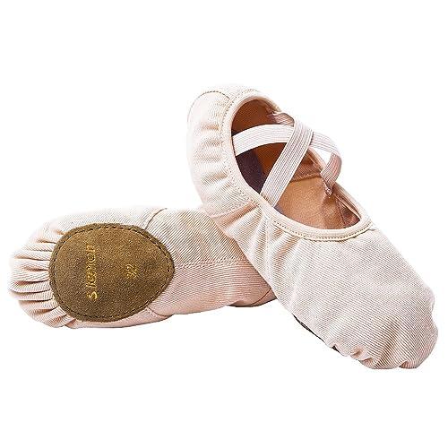 s.lemon Rosa Elastico Tela Scarpe per Balletto Danza Scarpette da Ballo Ballerine  per Bambini 1dbc53347ac