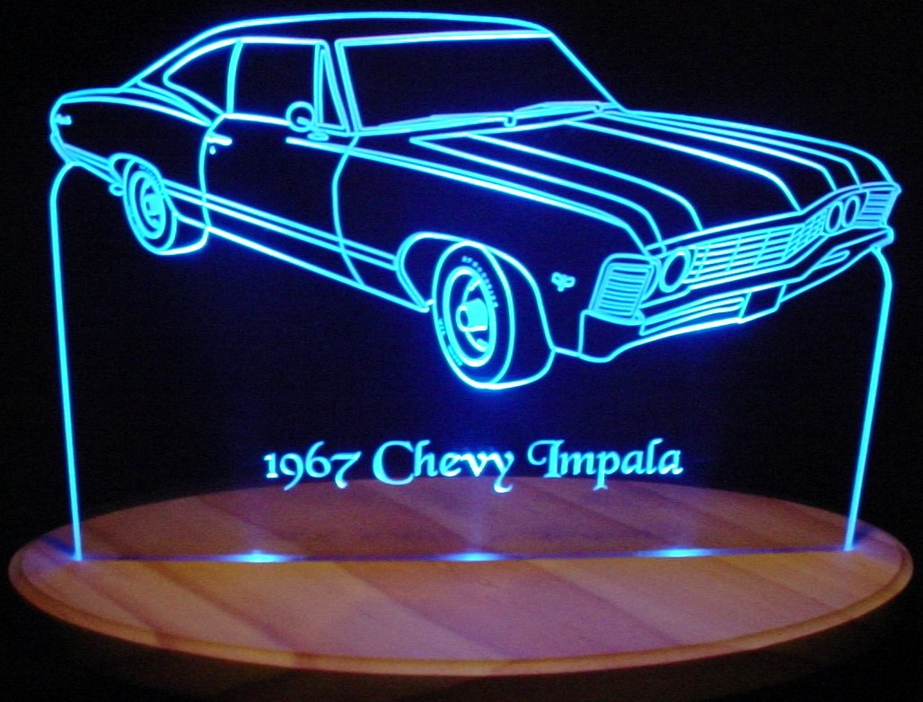 1967 Impala Acrylic Lighted Edge Lit 13'' Oval Wood Base 3 LED Sign Light Up Plaque 67 VVD1 Made in the USA