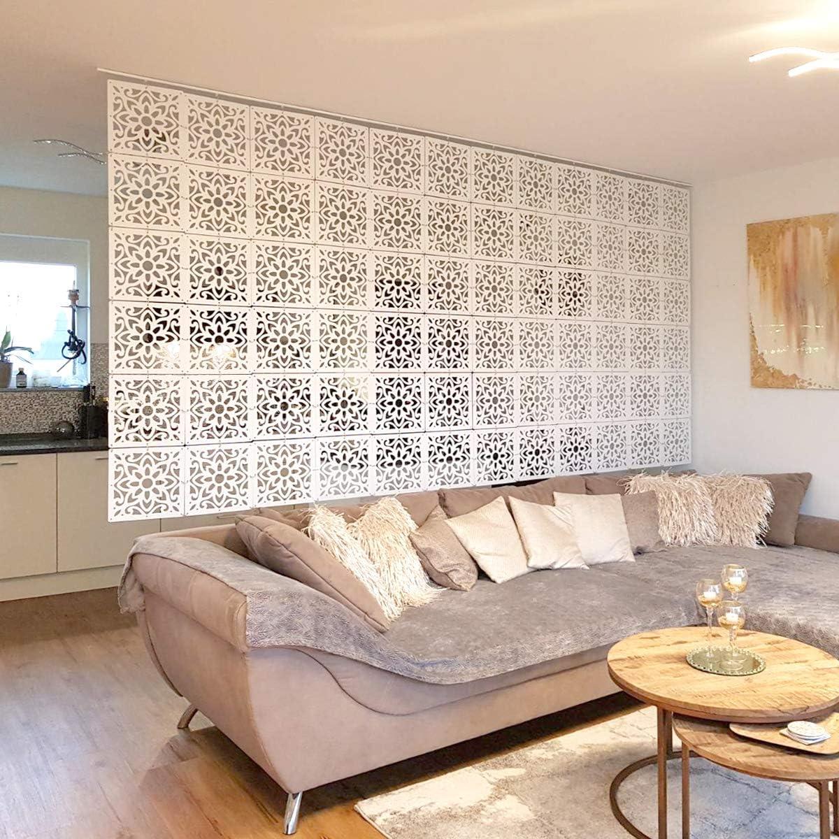 MYEUSSN Raumteiler Paravent Weiß DIY Paravents Raumtrenner Sichtschutz  Umweltfreundlichem PVC Holz-Plastik Trennwand Home Dekoration für  Wohnzimmer