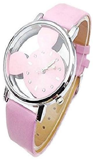 Mickey Mouse hueca Digital de cuarzo reloj de pulsera de mujer, color rosa: Amazon.es: Relojes
