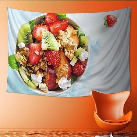 Amapark Home Decor Tapestry Fresh Fruit Salad Homemade Granola Feta
