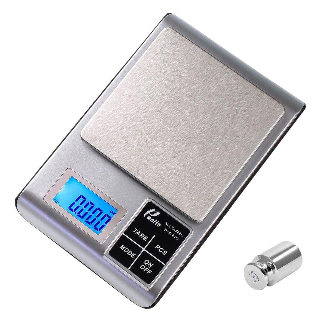 poniie 500 G/0.01g alimentos de cocina digital joyería Escala (peso de calibración y pilas incluidas): Amazon.es: Hogar