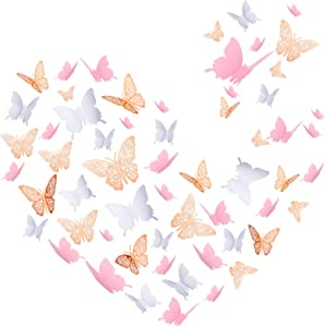 72 Pieces 3D Butterfly Wall Sticker Set Butterfly Wall Decals Removable Butterfly Decoration Simulation Butterfly Sticker Decor for DIY Baby Kids Bedroom Home Wall (Pink, White, Rose Gold)