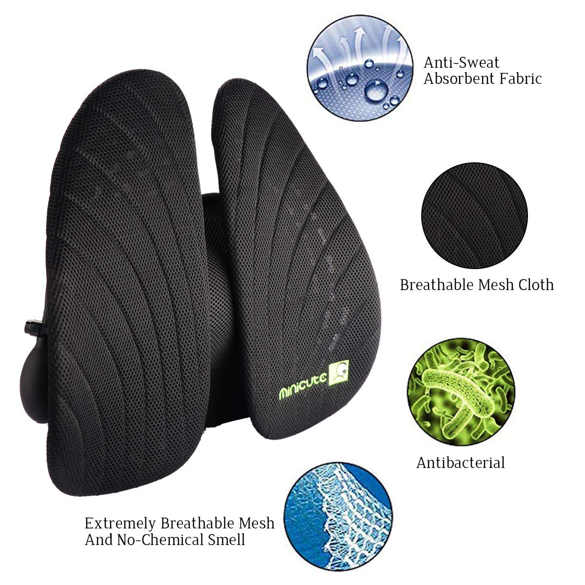 Minicute Lumbar Support Pillows Mesh Backrest Inflatable Air Back Support Cushion Ergonomic Pain Relief for Office Desk Chair Car Seats Airplane Couch Sofa