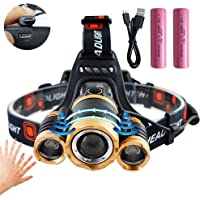 Motion Sensor LED Headlamp USB Rechargeable Flashlight 8000 Lumens Zoomable Torch Head Light Headlight with red Light 4 Modes for Biking Camping Hunting Running