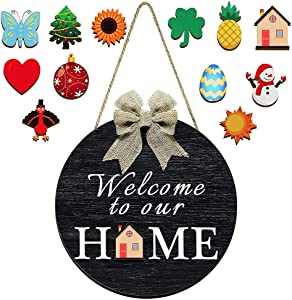 Katech Interchangeable Welcome Door Sign for Farmhouse Front Porch Decor, Wooden Seasonal Welcome to Our Home Wood Round Hang Sign Halloween, Easter, Fall, Christmas, Valentines Welcome Board (Black)