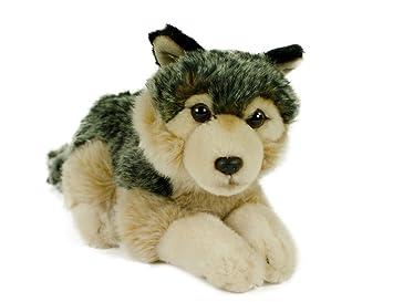 leosco Wolf, 24 cm, tumbado, peluche, peluche, plástico, animales de