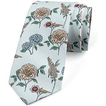 Corbata para hombres, flores y hojas victorianas, 8 cm, azul bebé ...