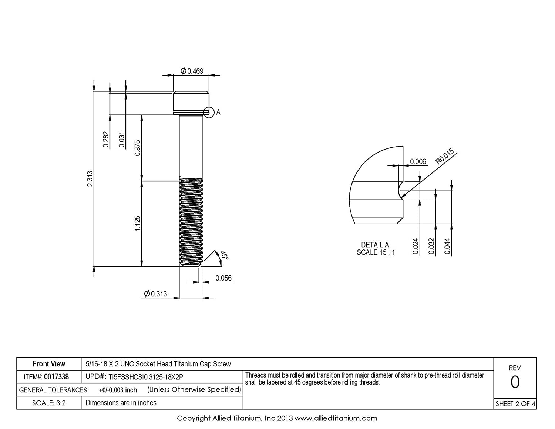 Inc Ti-6Al-4V 5//16-18 X 2 UNC Socket Head Cap Screw Pack of 4 Allied Titanium 0017338, Grade 5 609764001