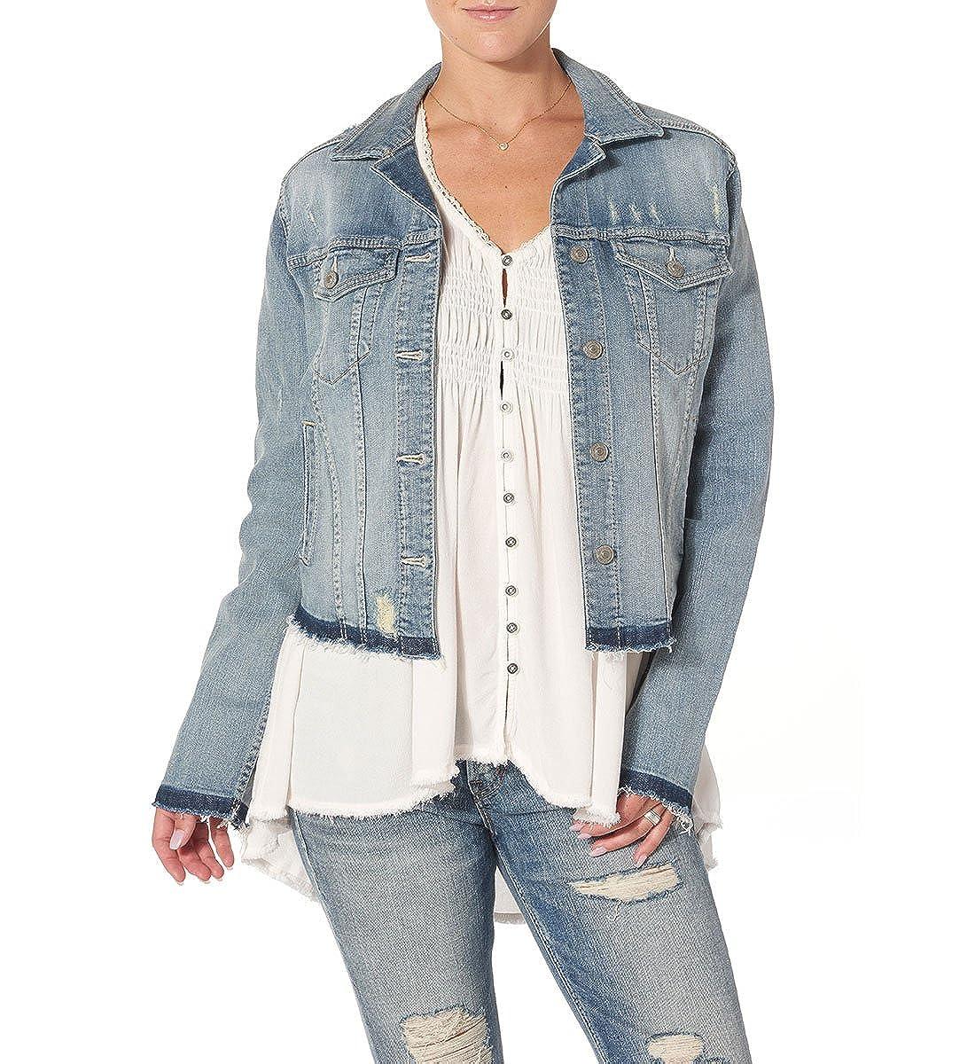 Silver Jeans Women's Denim Jacket with Let Down Destructed Hem Silver Jeans Juniors LJ0013SJL146