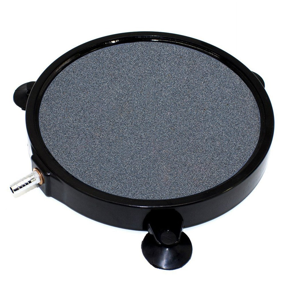 GROWNEER 8 Inch Air Stone Disc w/Shell and Suction Cups Micropore Mineral Bubble Diffuser for Hydroponics Aquarium Tank Pump