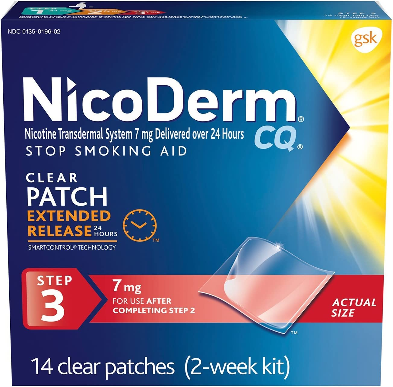 B0000536V6 NicoDerm CQ Stop Smoking Aid 7 milligram Clear Nicotine Patches for Quitting Smoking, Step 3, 14 Count 71Oiw3XfO0L