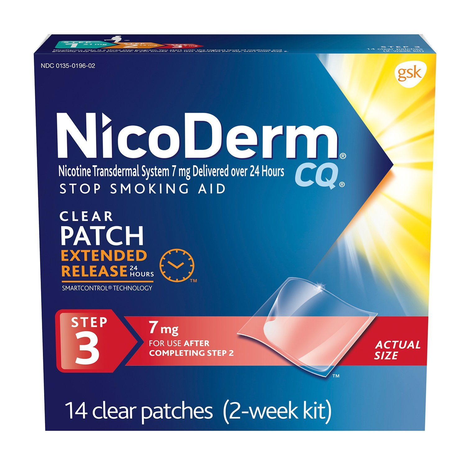 NicoDerm CQ Stop Smoking Aid 7 milligram Clear Nicotine Patches for Quitting Smoking, Step 3, 14 Count