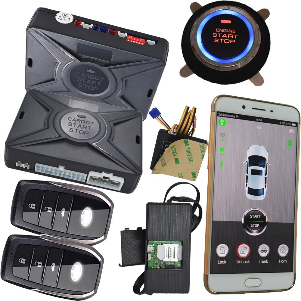 Car Burglar Alarm Security System Smart Phone Keyless Entry Car Door lock Remote Start Stop Engine