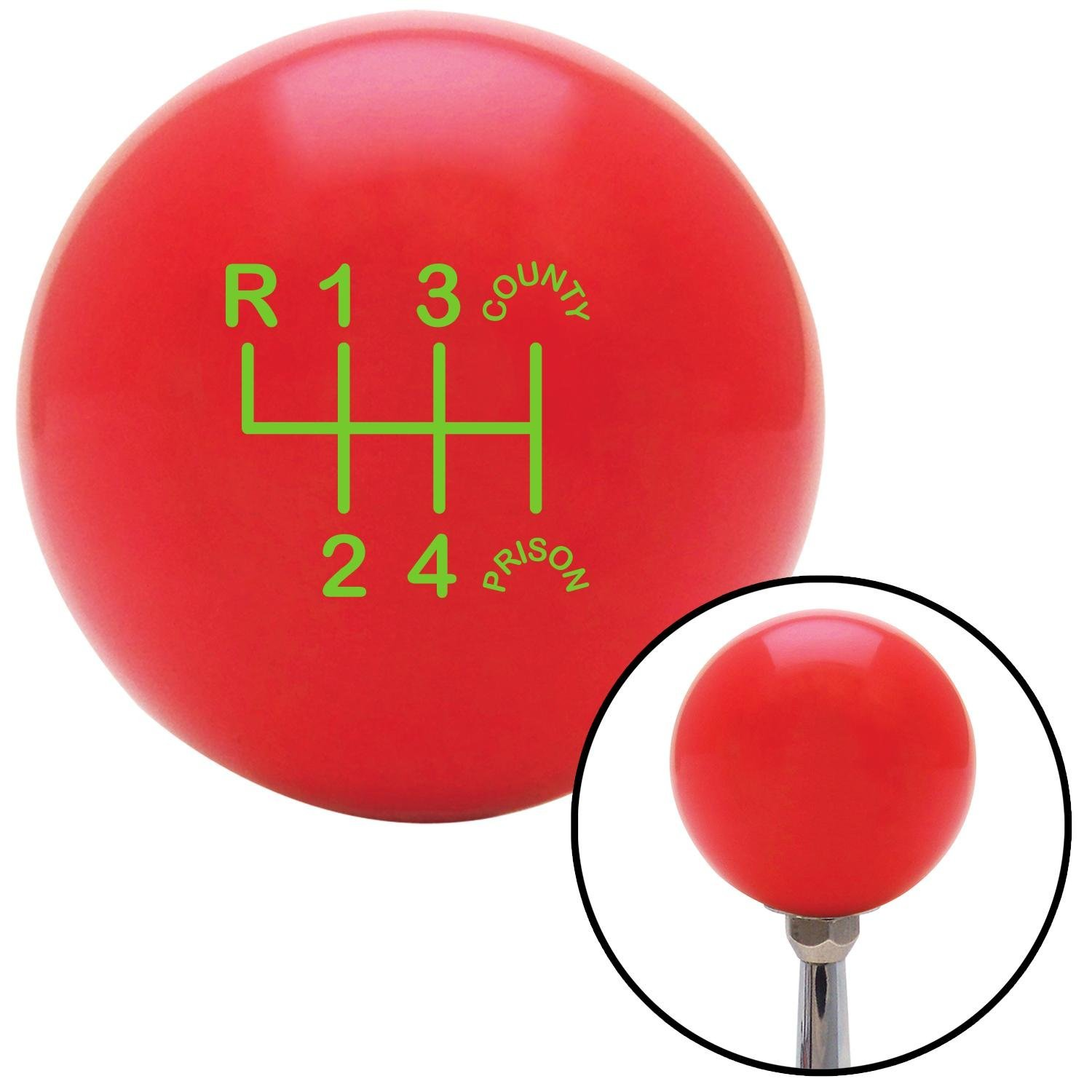 American Shifter 100494 Red Shift Knob with M16 x 1.5 Insert Green Shift Pattern CP20n