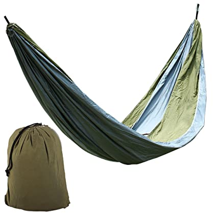 Gray,Dark Green,#8 : Generic Beach Yard, Parachute Nylon, Double Nest, Swing, Relaxing Bed, Lightweight Portable, Hanging, Hammock with, Carabiners