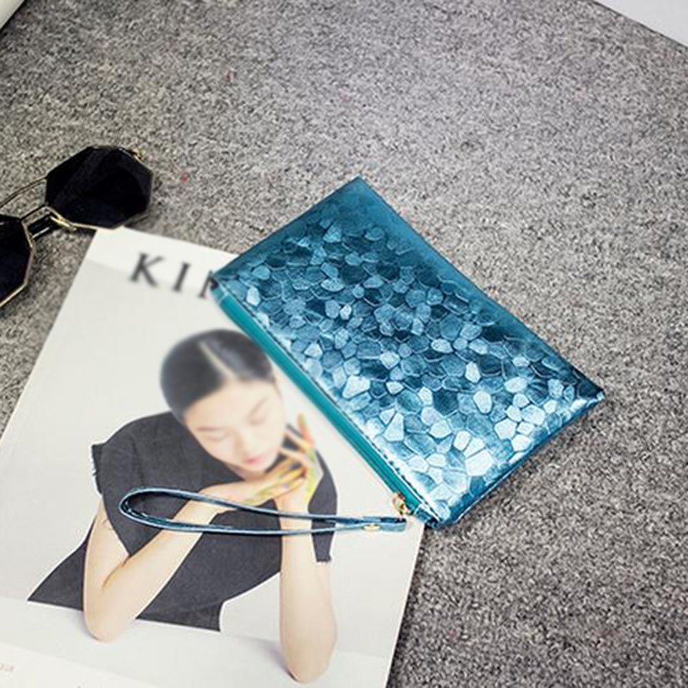 Fablcrew Cartera Casual de Moda de Cuero de la PU Bolso de Mano para Mujer 19 2cm Azul 11
