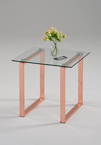 Kings Brand Furniture – Jelm Rose Gold Finish Metal with Temper Glass End Table