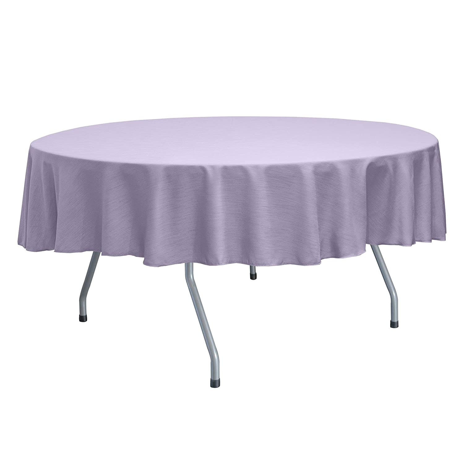 Ultimate Textile Reversible Shantung Satin - Majestic 60-Inch Round Tablecloth - Fits Tables Smaller Than 60-Inches in Diameter, Lilac Light Purple