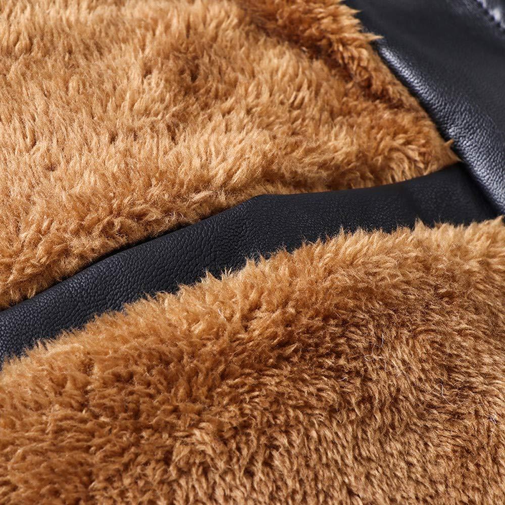 Homebaby Invernale Giacca in Ecopelle Uomo Taglie Forti Elegante Classico Motociclista Biker Caldo Cappotto Lungo Felpa Casual Tops Spessa Outwear Abbigliamento Sportivo