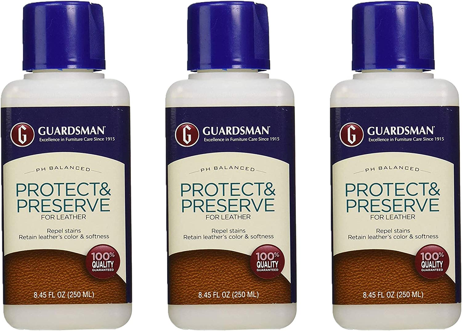 Guardsman Protect & Preserve For Leather 8.4 oz - Repels Stains, Retains Color and Softness, Great for Leather Furniture & Car Interiors - 471000, Pack 3