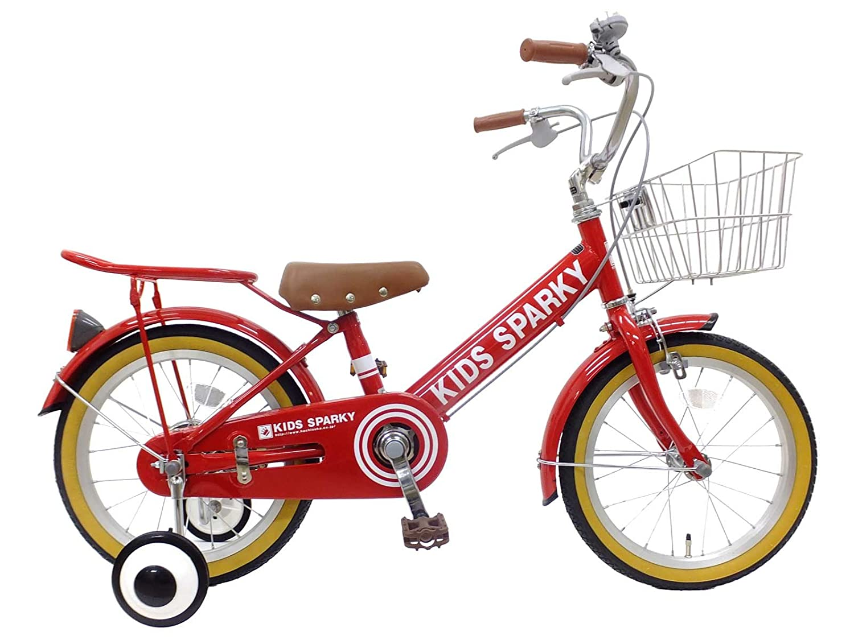 16インチ 子供用自転車 キッズスパーキー 補助輪付き 幼児自転車 男の子 女の子 組立済み B077RSPR76レッド