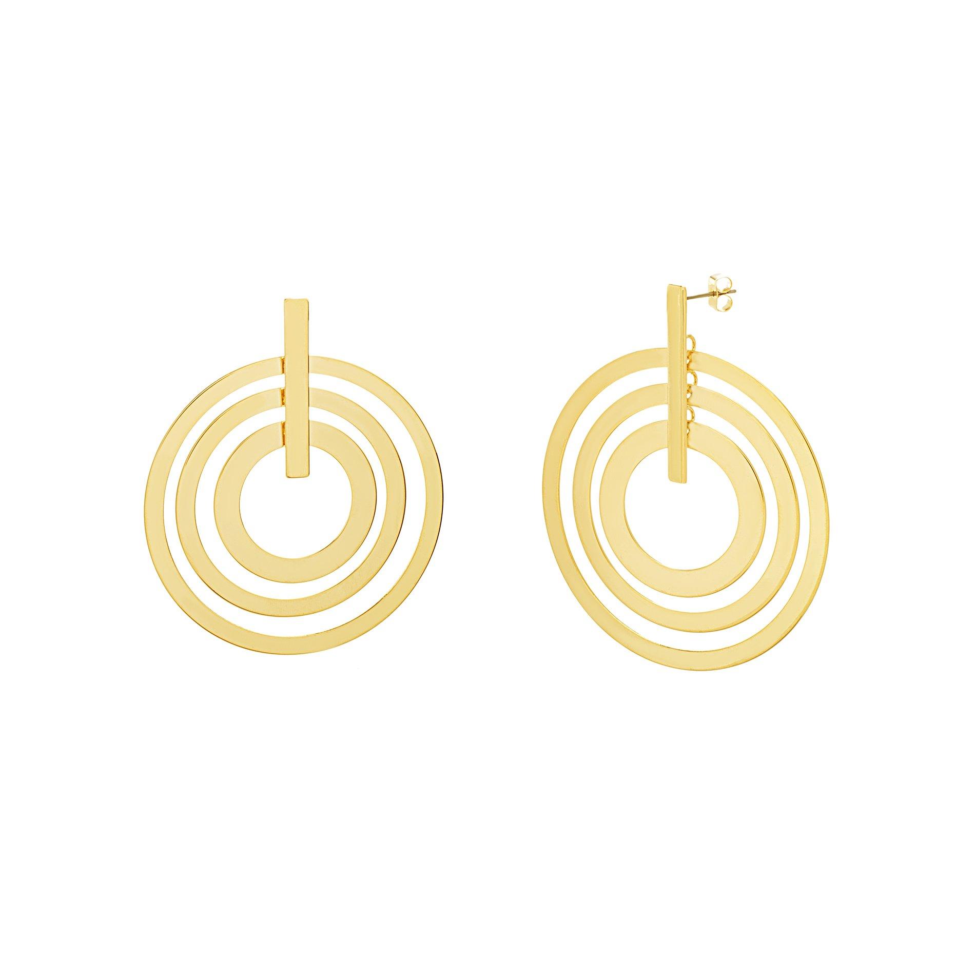 Catherine Malandrino Women's Polished Layered Circle and Bar Circle Yellow Gold-Tone Earrings (Yellow)