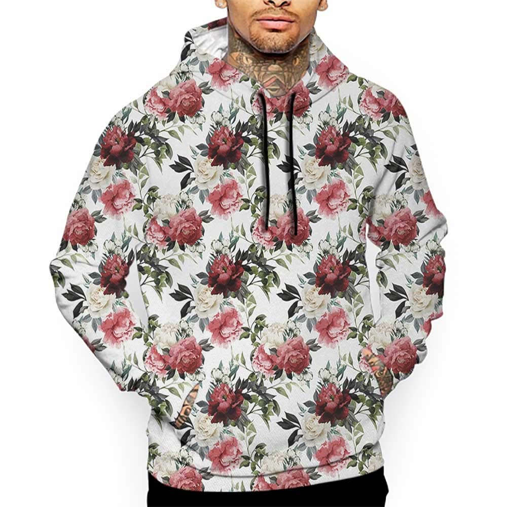 Hoodies Sweatshirt/ Men 3D Print Shabby Chic,Floral Flower Roses Buds with Leaves and Branches Art Print,Red Maroon and Olive Green Sweatshirts for Teens