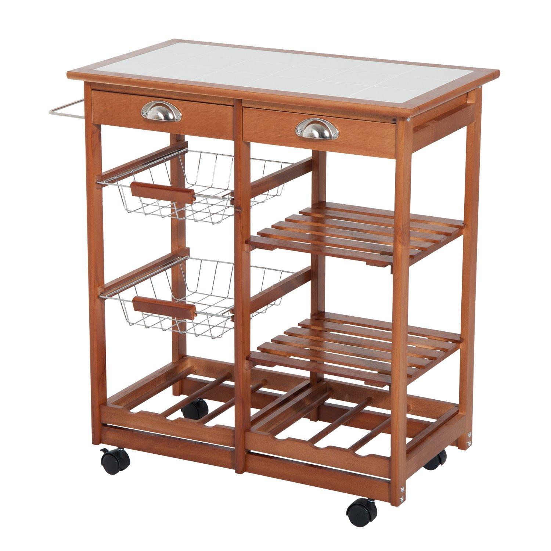 HOMCOM 30'' Wooden Rolling Kitchen Organizer Cart Tile Countertop With Basket Storage Wine Rack by HOMCOM (Image #3)